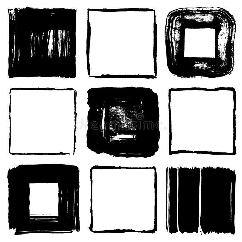 Τετράγωνα κτυπήματος βουρτσών. διανυσματική απεικόνιση