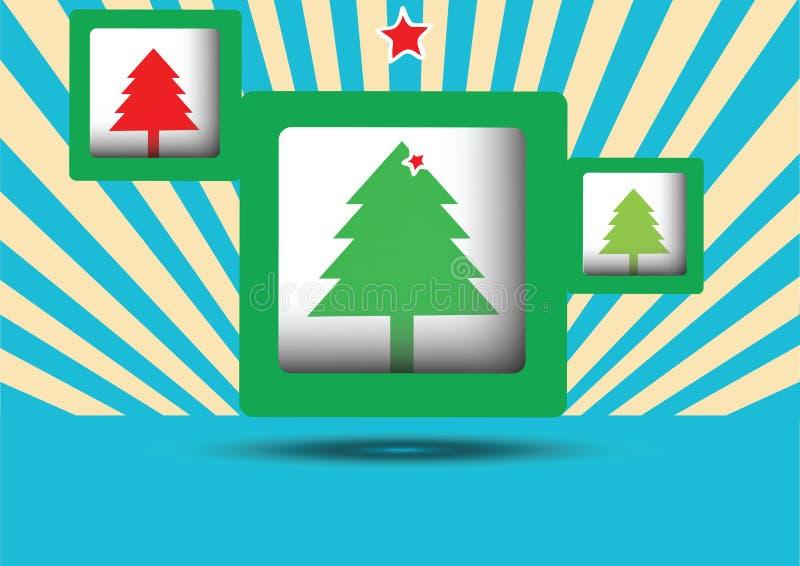 Τετράγωνα με το δέντρο τριών Χαρούμενα Χριστούγεννας ελεύθερη απεικόνιση δικαιώματος
