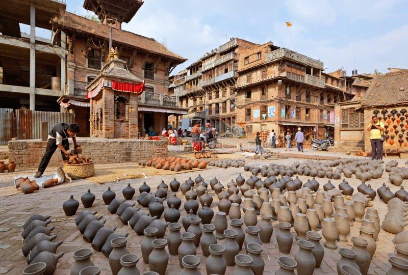 Τετράγωνο αγοράς αγγειοπλαστικής Bhaktapur στοκ εικόνα