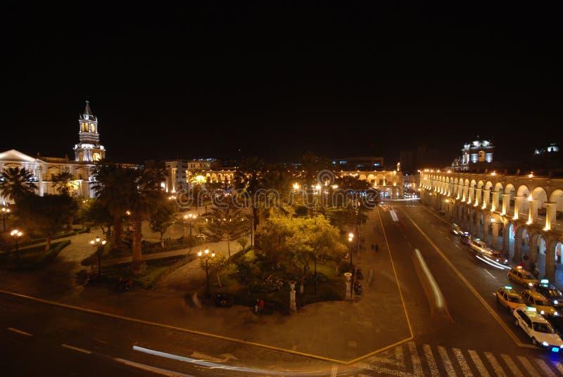 Τετράγωνο πόλεων τη νύχτα σε Arequipa, Περού στοκ φωτογραφίες με δικαίωμα ελεύθερης χρήσης