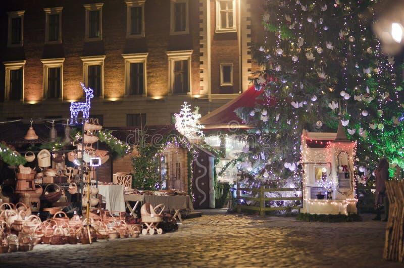 Τετράγωνο στη Ρήγα στα Χριστούγεννα στοκ εικόνες