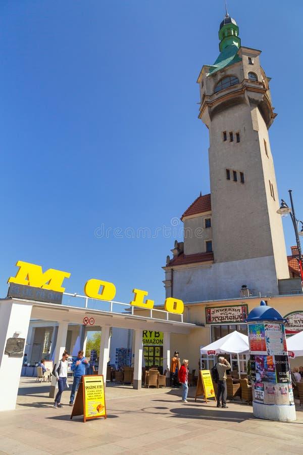 Τετράγωνο της παλαιάς πόλης με την όμορφη αρχιτεκτονική σε Sopot στοκ εικόνα με δικαίωμα ελεύθερης χρήσης