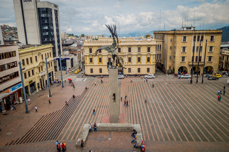 Τετράγωνο bolívar στο Manizales, Κολομβία στοκ εικόνες με δικαίωμα ελεύθερης χρήσης