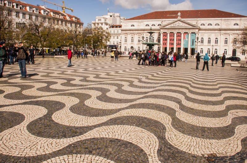 Τετράγωνο Rossio στη Λισσαβώνα στοκ εικόνες