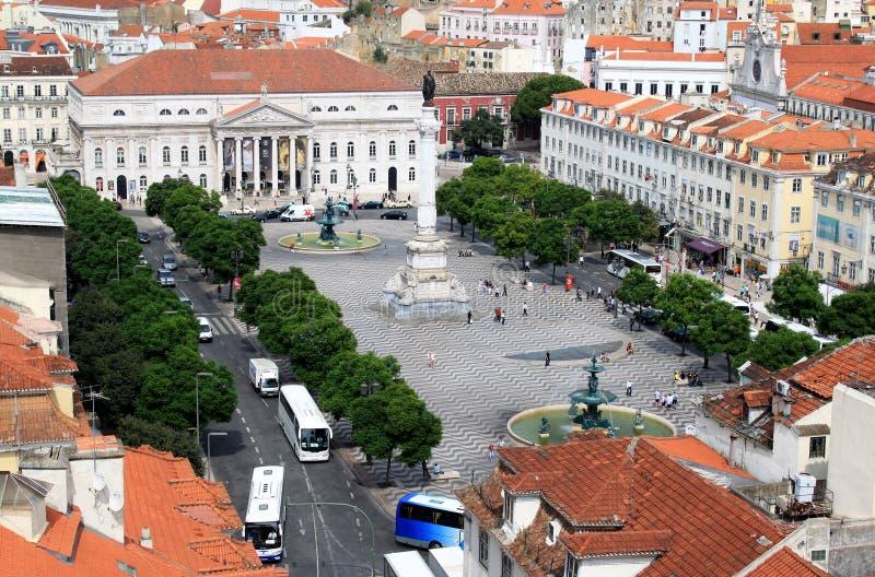 τετράγωνο santa rossio της Λισσαβώ&nu στοκ φωτογραφία με δικαίωμα ελεύθερης χρήσης