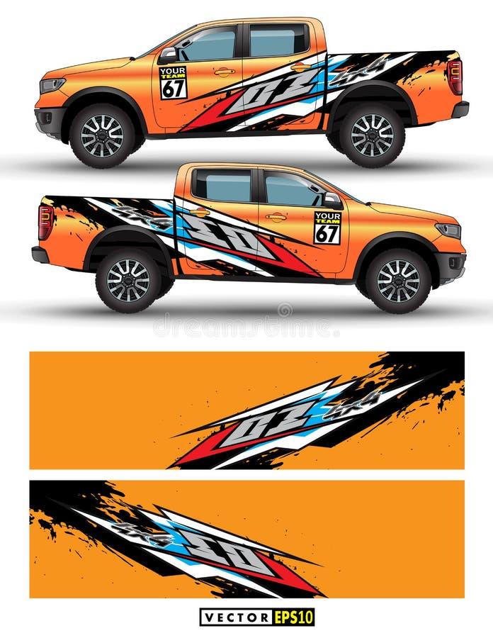 Τετράτροχη κίνηση φορτηγών και γραφικό διάνυσμα αυτοκινήτων αφηρημένες γραμμές με το πορτοκαλί σχέδιο υποβάθρου για το βινυλίου π διανυσματική απεικόνιση