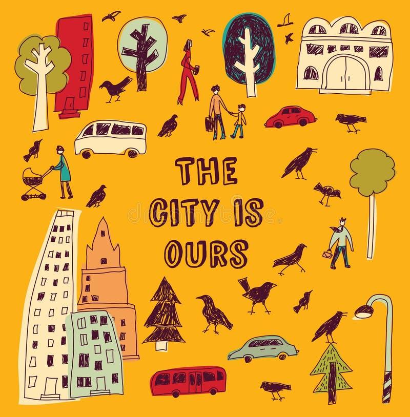 Τετραγωνικά κάρτες και σημάδι χρώματος ζωής πόλεων Doodles αστικά ελεύθερη απεικόνιση δικαιώματος