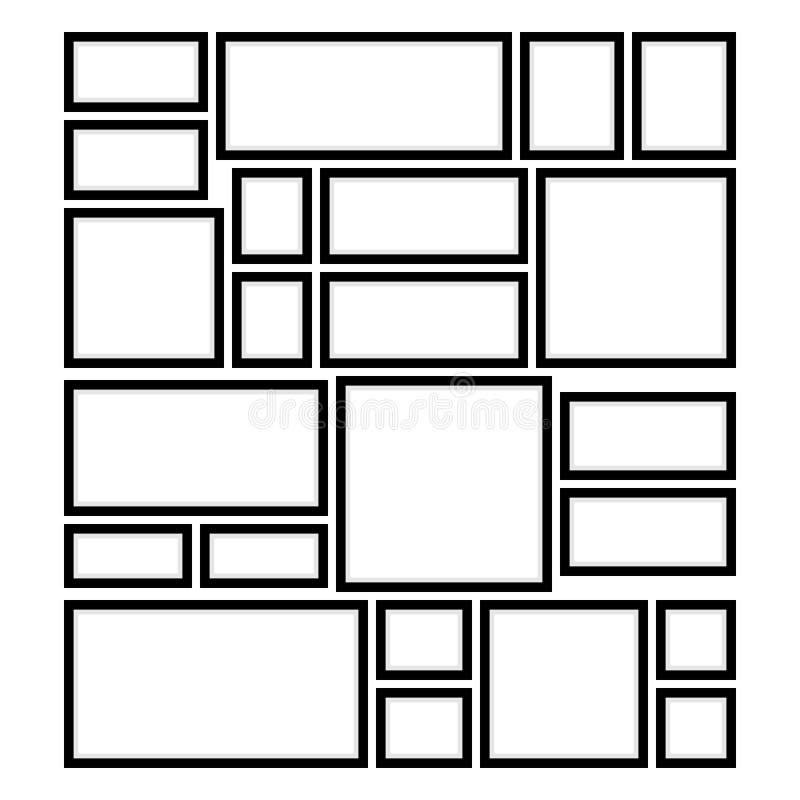 Τετραγωνικά και ορθογώνια πλαίσια στον τοίχο ελεύθερη απεικόνιση δικαιώματος