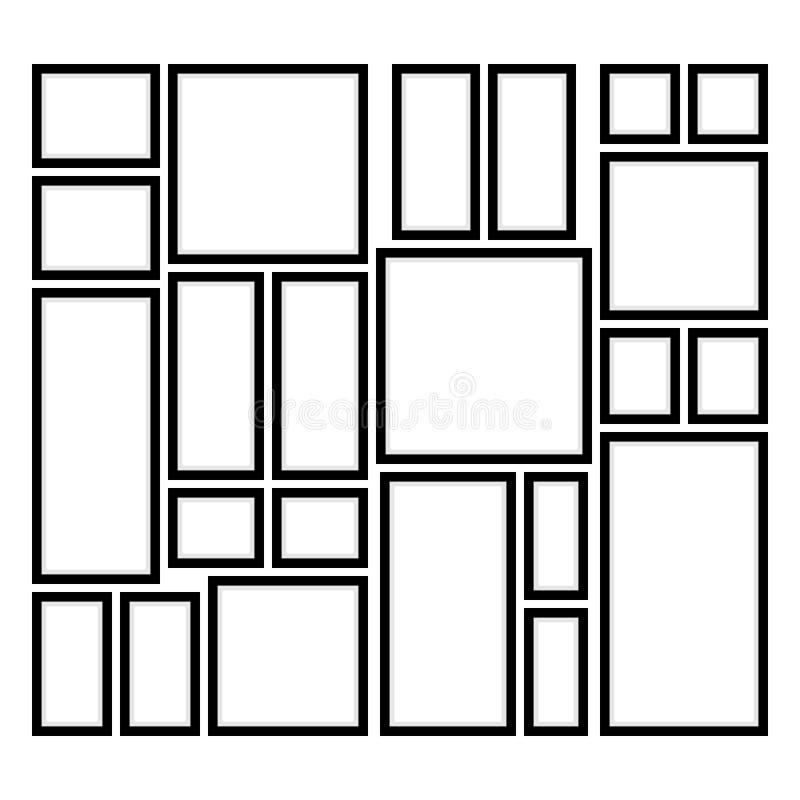 Τετραγωνικά και ορθογώνια πλαίσια στον τοίχο απεικόνιση αποθεμάτων