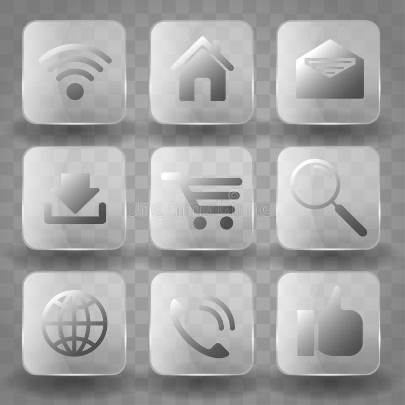 Τετραγωνικά κουμπιά γυαλιού εφαρμογής διαφανή ή app εμβλήματα εικονιδίων με την επίδραση αντανάκλασης ερμηνείας Εικονίδια για την απεικόνιση αποθεμάτων