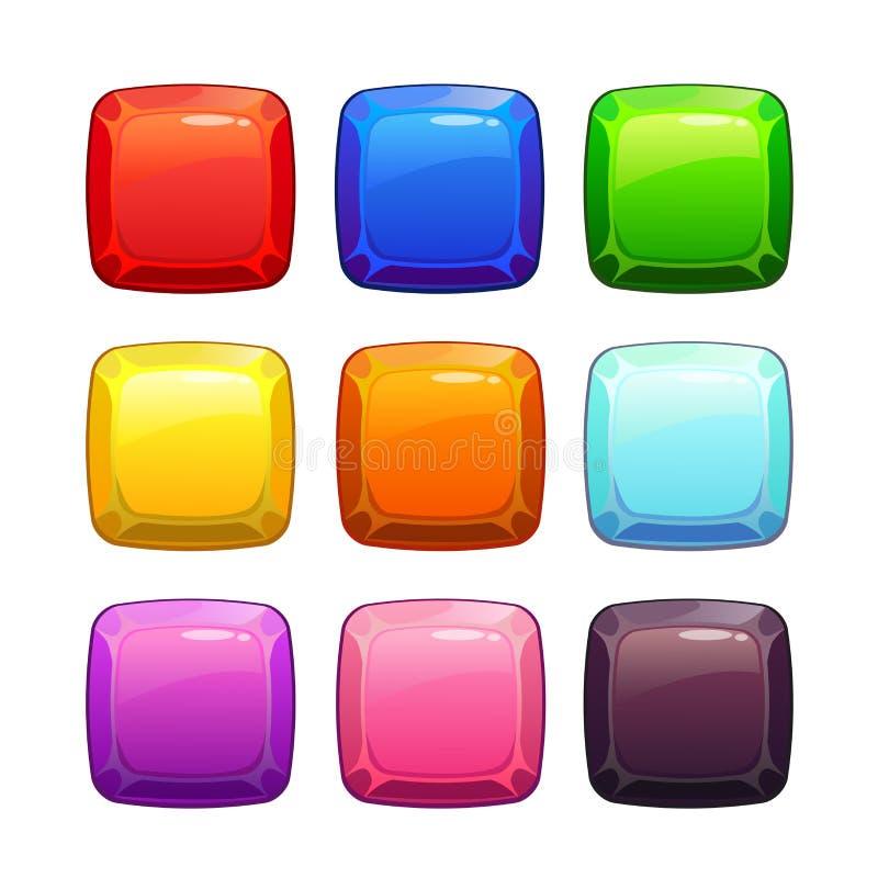 Τετραγωνικά κουμπιά πετρών κινούμενων σχεδίων ζωηρόχρωμα στιλπνά διανυσματική απεικόνιση