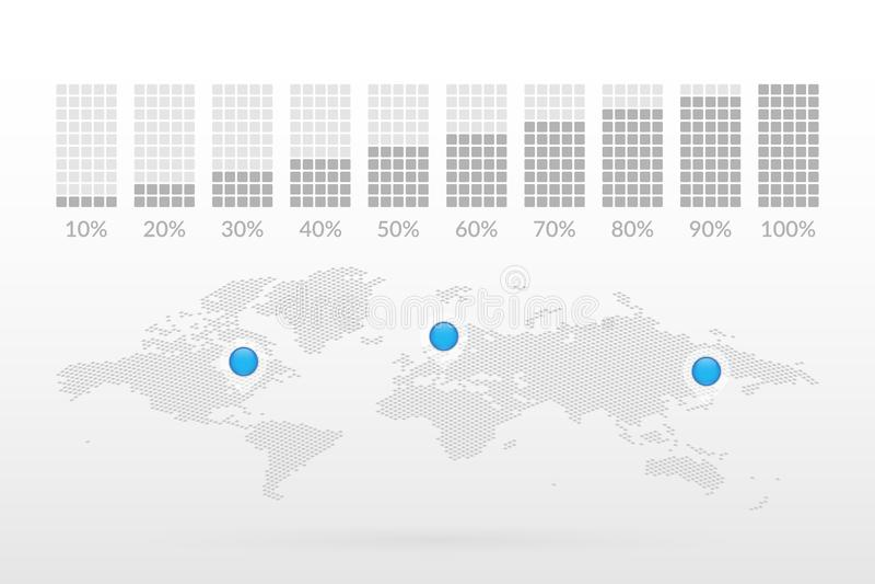 10 20 30 40 50 60 70 80 τετραγωνικά σύμβολα διαγραμμάτων 90 τοις εκατό Παγκόσμιος χάρτης με τους δείκτες χαρτών Εικονίδια απεικόν διανυσματική απεικόνιση