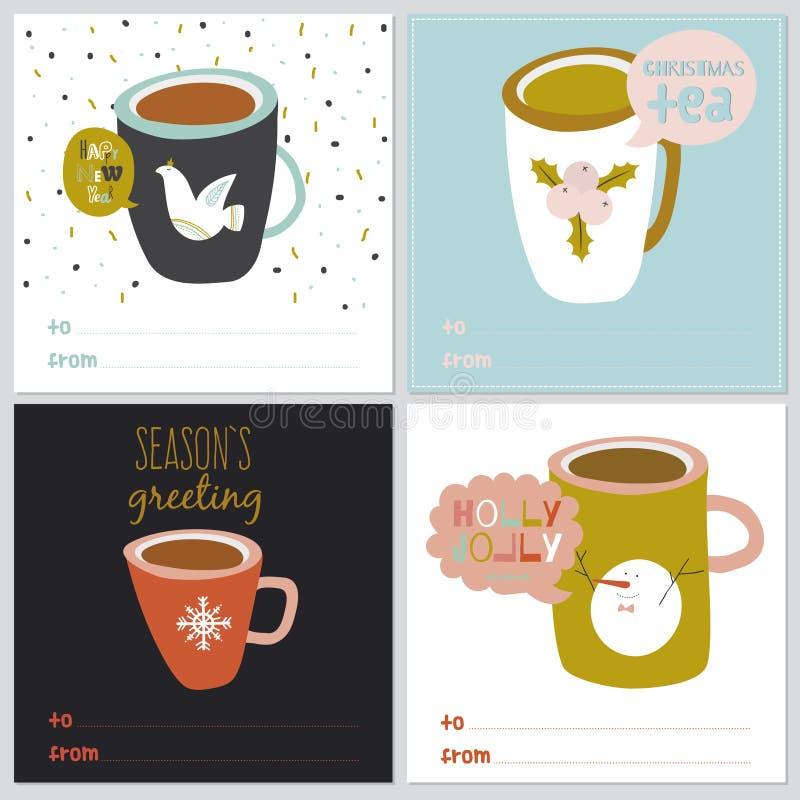 Τετραγωνικά Χριστούγεννα και νέες ευχετήριες κάρτες έτους απεικόνιση αποθεμάτων