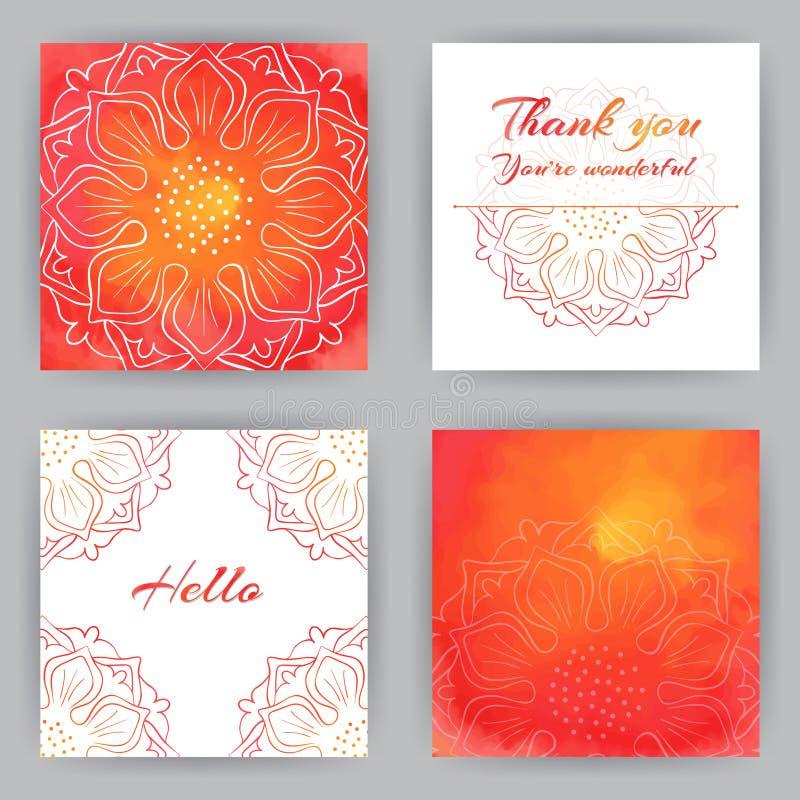 Τετραγωνικές κάρτες με το κόκκινο Lotus ελεύθερη απεικόνιση δικαιώματος