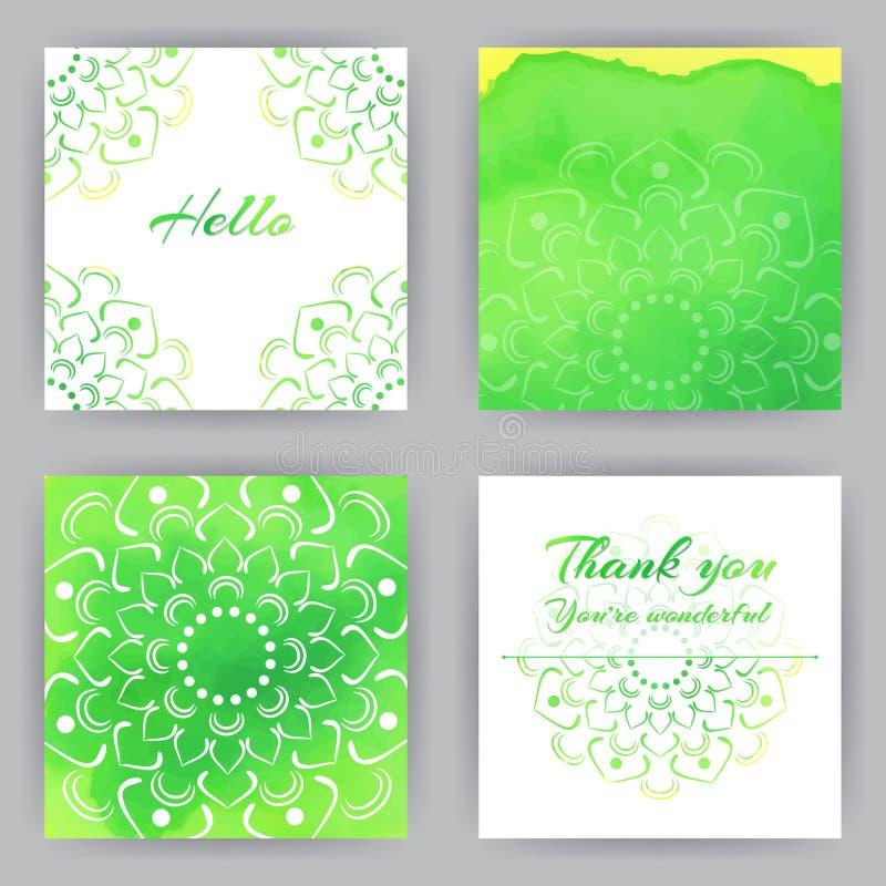 Τετραγωνικές κάρτες με το πράσινο Lotus διανυσματική απεικόνιση
