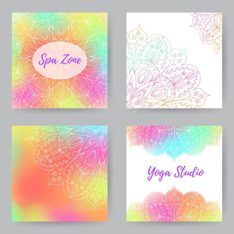 Τετραγωνικές κάρτες με Mandala1 απεικόνιση αποθεμάτων