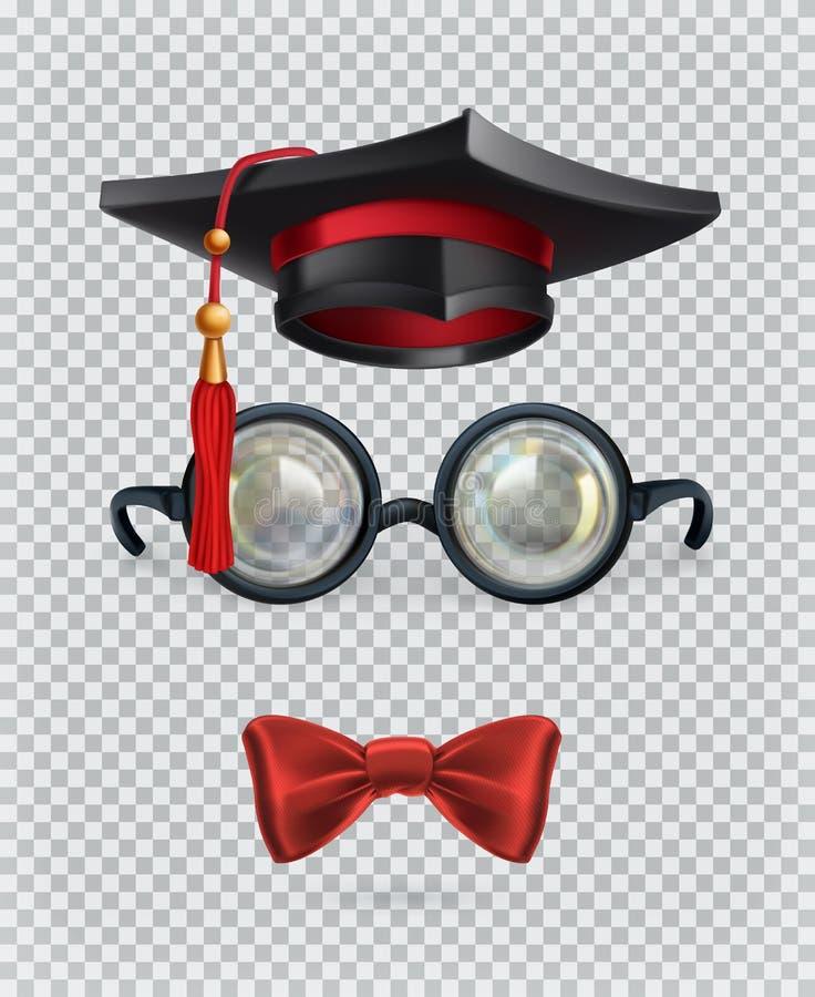Τετραγωνική ακαδημαϊκή ΚΑΠ, mortarboard, γυαλιά και δεσμός τόξων τα εικονίδια εικονιδίων χρώματος χαρτονιού που τίθενται κολλούν  διανυσματική απεικόνιση