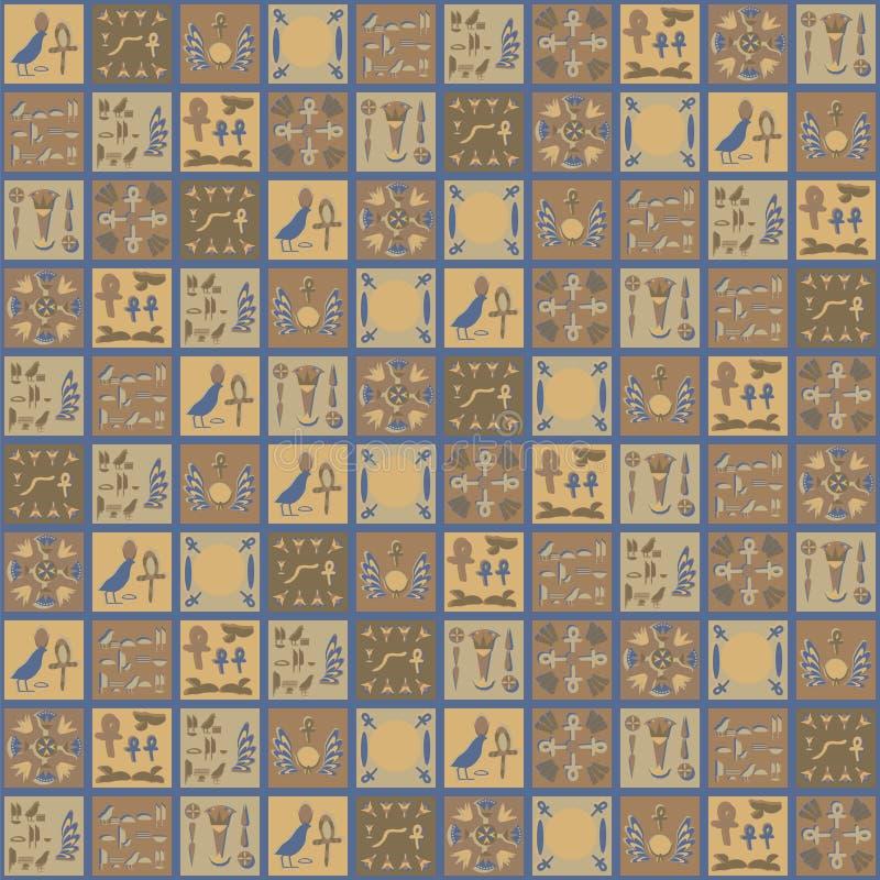 Τετραγωνική διανυσματική αιγυπτιακή hieroglyphs διακοσμήσεων καφετιά κίτρινη γκρίζα κεραμικών κεραμιδιών φυτική θάλασσα αναμνηστι διανυσματική απεικόνιση
