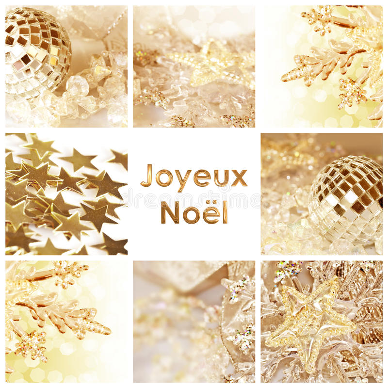 Τετραγωνική ευχετήρια κάρτα joyeux noel, σημαίνοντας τη Χαρούμενα Χριστούγεννα στα γαλλικά στοκ φωτογραφία