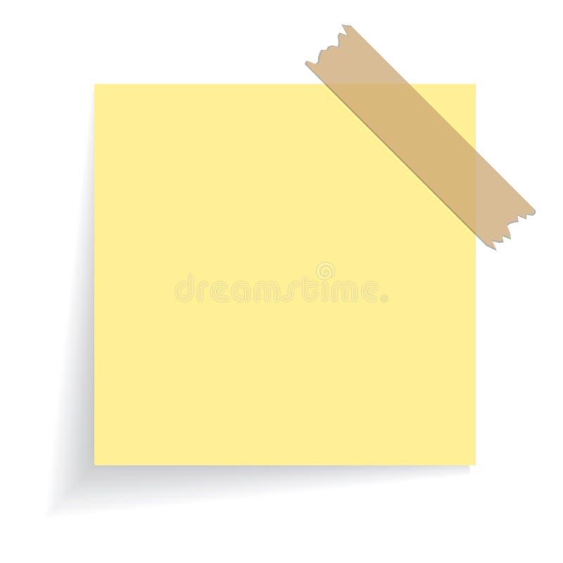Τετραγωνική κίτρινη αυτοκόλλητη ετικέττα διανυσματική απεικόνιση