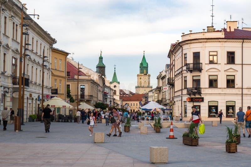 Τετραγωνική και παλαιά κωμόπολη Lokietka της πόλης του Lublin στοκ εικόνα