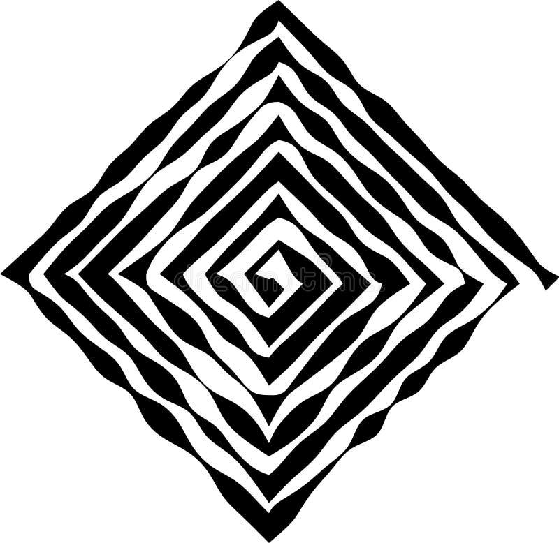 Τετραγωνική μορφή ως λαβύρινθο ανώμαλου, που αλλάζει το πάχος των γραμμών διανυσματική απεικόνιση