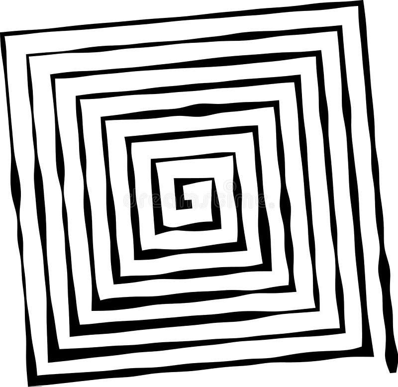 Τετραγωνική μορφή ως λαβύρινθο ανώμαλου, που αλλάζει το πάχος των γραμμών απεικόνιση αποθεμάτων