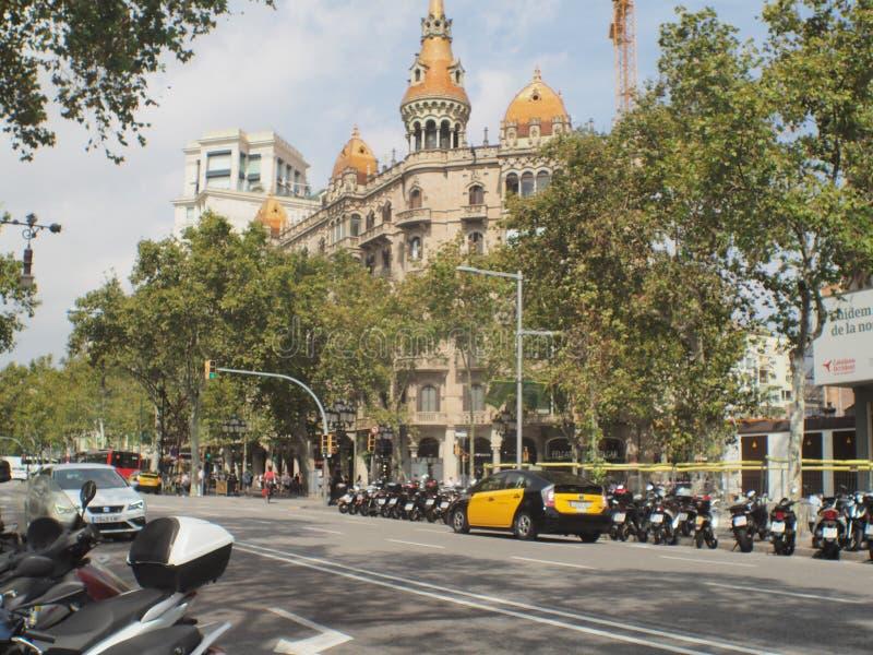 Τετραγωνική οδός Βαρκελώνη πλαισίου Catalunya στοκ εικόνες
