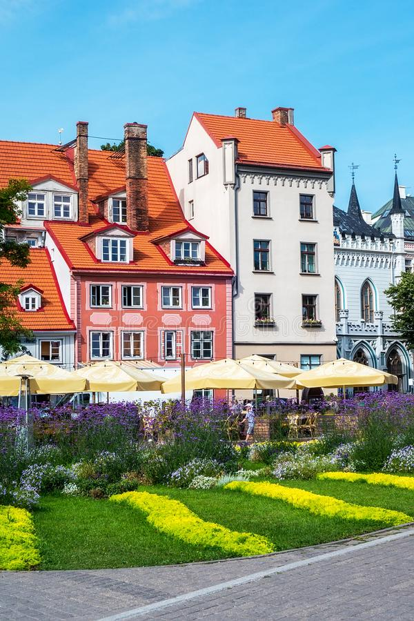 Τετραγωνική, παλαιά πόλη Livu της Ρήγας, Λετονία στοκ εικόνα με δικαίωμα ελεύθερης χρήσης