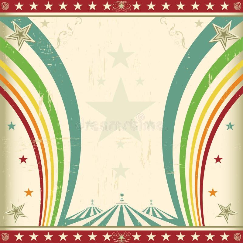 Τετραγωνική πρόσκληση τσίρκων ουράνιων τόξων. απεικόνιση αποθεμάτων