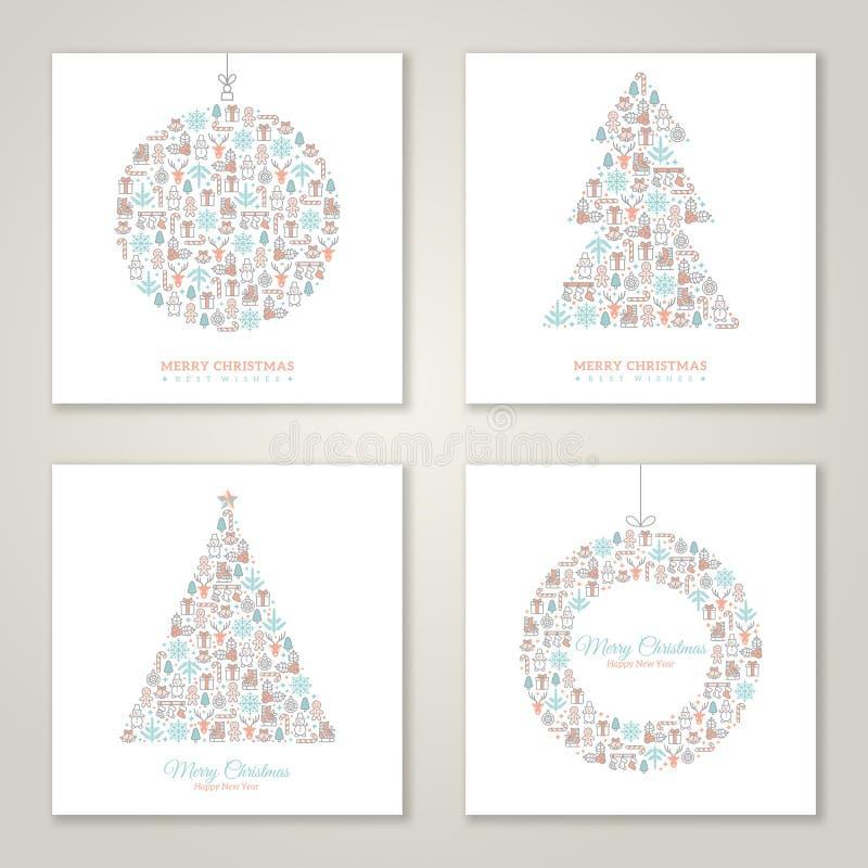Τετραγωνική συλλογή σχεδίου καρτών Χριστουγέννων διανυσματική απεικόνιση