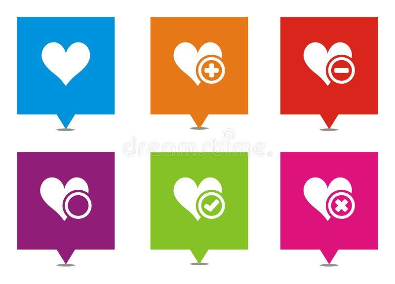 Τετραγωνικοί δείκτες αγάπης διανυσματική απεικόνιση