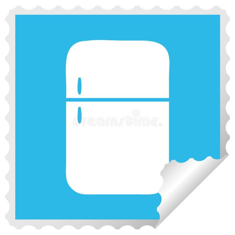 τετραγωνικός ψυκτήρας ψυγείων κινούμενων σχεδίων αυτοκόλλητων ετικεττών αποφλοίωσης διανυσματική απεικόνιση