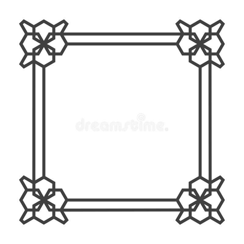 Τετραγωνικό ασιατικό διανυσματικό αναδρομικό πλαίσιο σε γραπτό διανυσματική απεικόνιση
