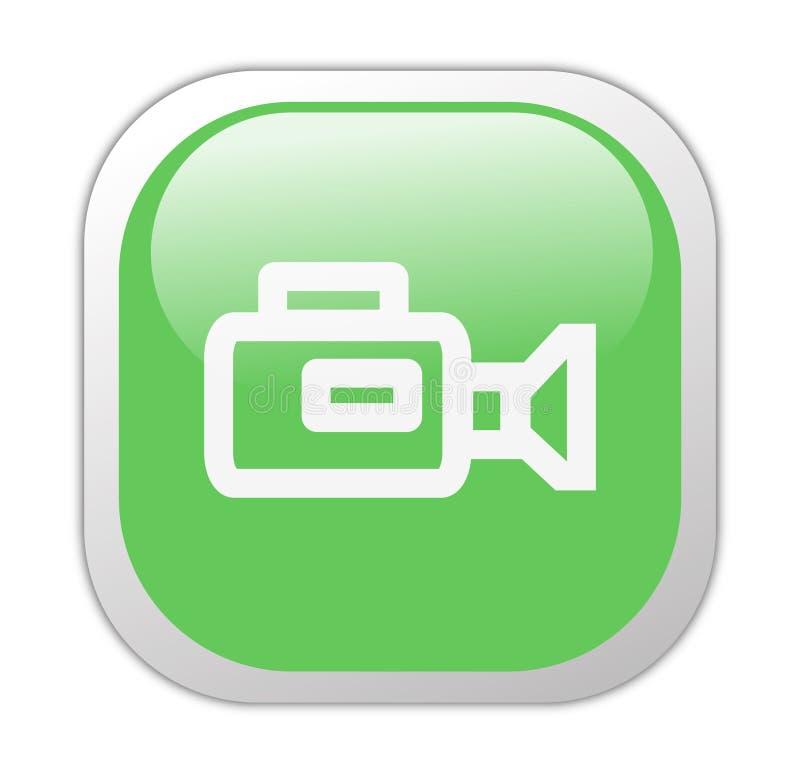 τετραγωνικό βίντεο εικονιδίων φωτογραφικών μηχανών υαλώδες πράσινο διανυσματική απεικόνιση