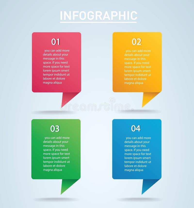 Τετραγωνικό γραφικό διανυσματικό πρότυπο πληροφοριών με 4 επιλογές διανυσματική απεικόνιση