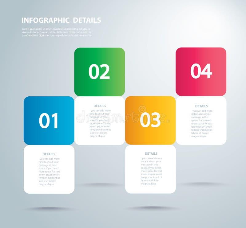 Τετραγωνικό γραφικό διανυσματικό πρότυπο πληροφοριών με 4 επιλογές Μπορέστε να χρησιμοποιηθείτε για τον Ιστό, διάγραμμα, γραφική  διανυσματική απεικόνιση