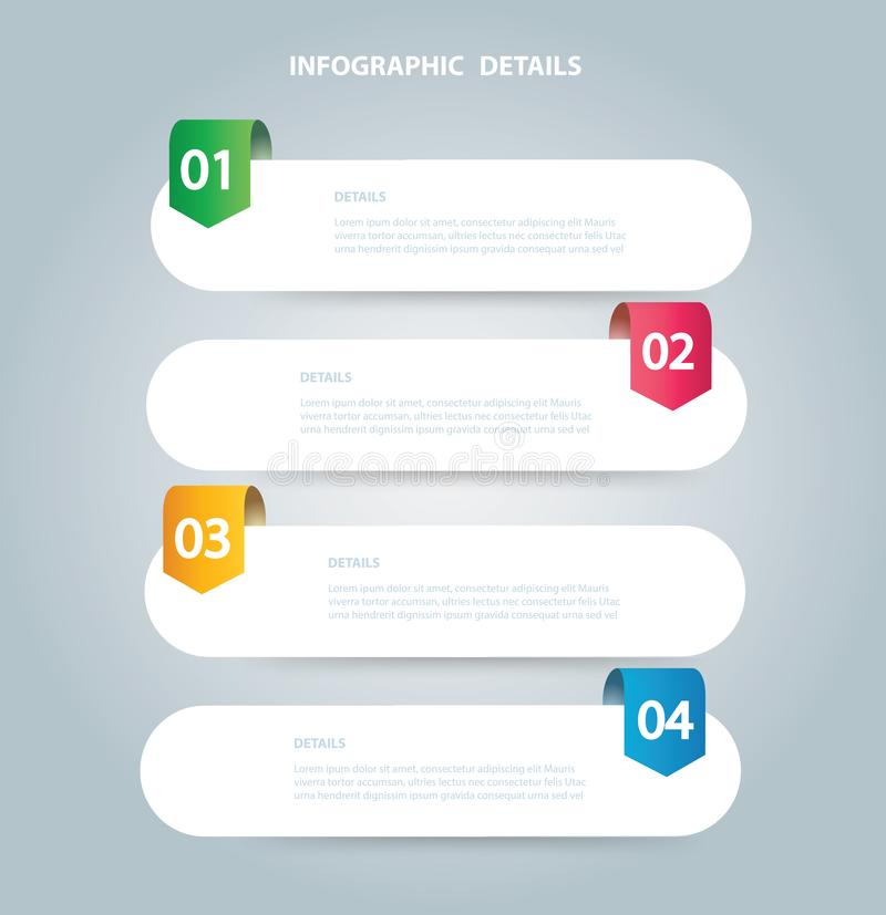 Τετραγωνικό γραφικό διανυσματικό πρότυπο πληροφοριών με 4 επιλογές Μπορέστε να χρησιμοποιηθείτε για τον Ιστό, διάγραμμα, γραφική  απεικόνιση αποθεμάτων