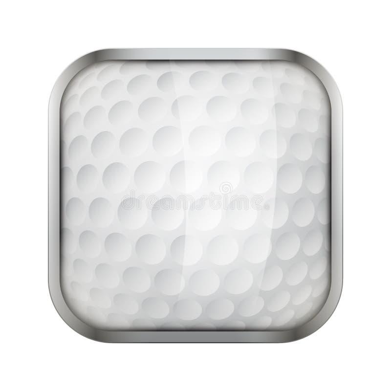 Τετραγωνικό εικονίδιο για το γκολφ app ή τα παιχνίδια διανυσματική απεικόνιση