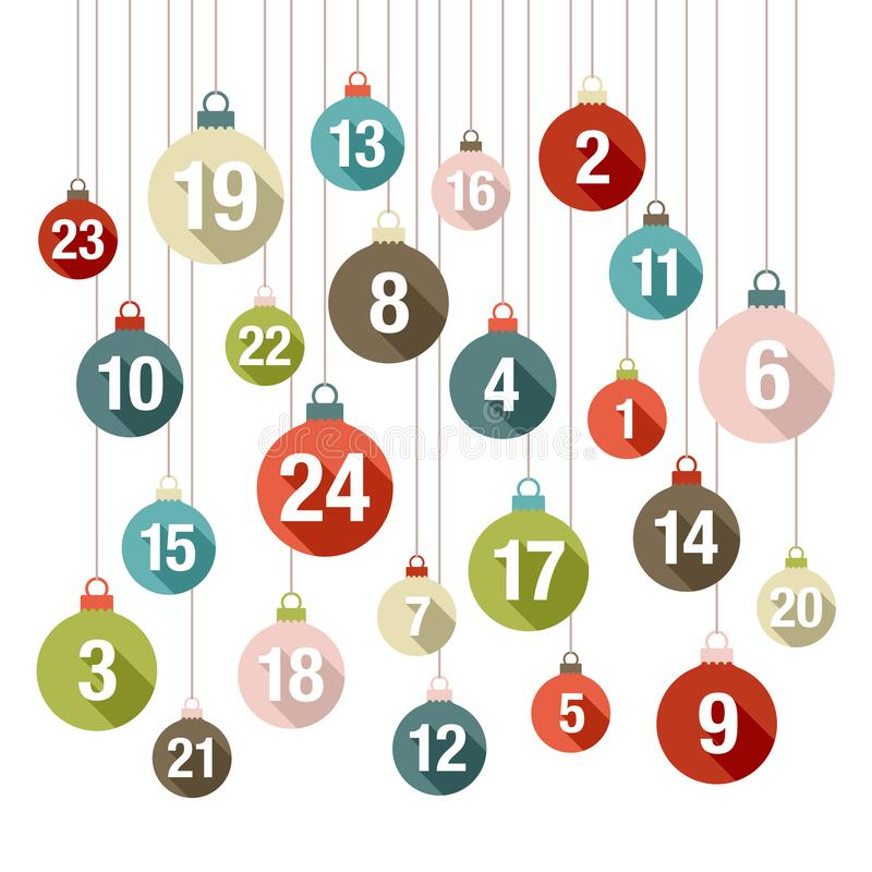 Τετραγωνικό εμφάνισης ημερολογιακών Χριστουγέννων επίπεδο σχέδιο χρωμάτων σφαιρών αναδρομικό απεικόνιση αποθεμάτων