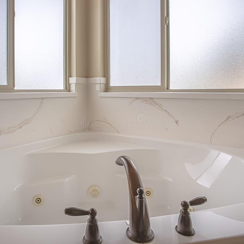 Τετραγωνικό εσωτερικό λουτρών ενός σπιτιού με τη γυαλισμένη μπανιέρα και τα παγωμένα παράθυρα στοκ εικόνα με δικαίωμα ελεύθερης χρήσης
