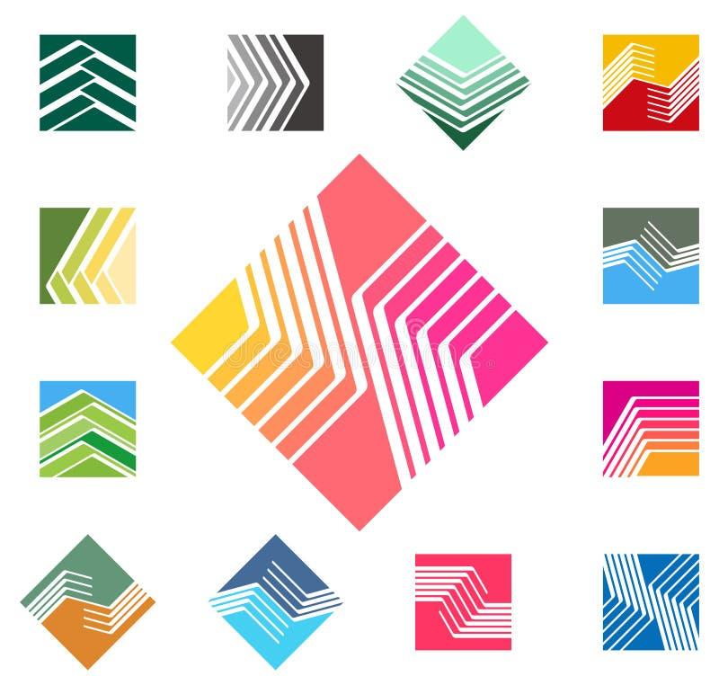 Τετραγωνικό διανυσματικό πρότυπο λογότυπων σχεδίου. ελεύθερη απεικόνιση δικαιώματος
