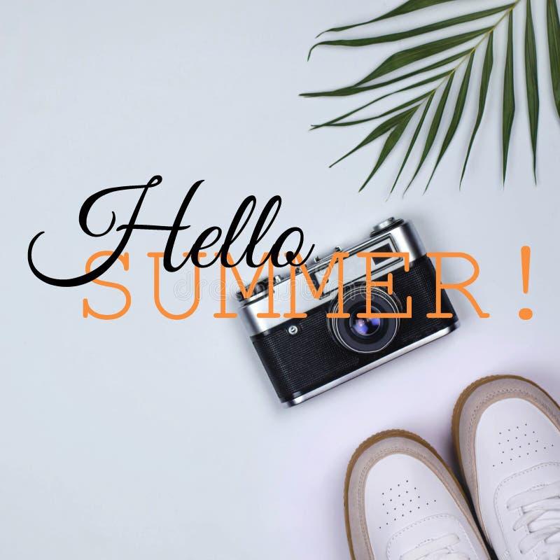 Τετραγωνικό κολάζ φωτογραφιών το τροπικό καλοκαίρι ύφους γειά σου στοκ φωτογραφία με δικαίωμα ελεύθερης χρήσης