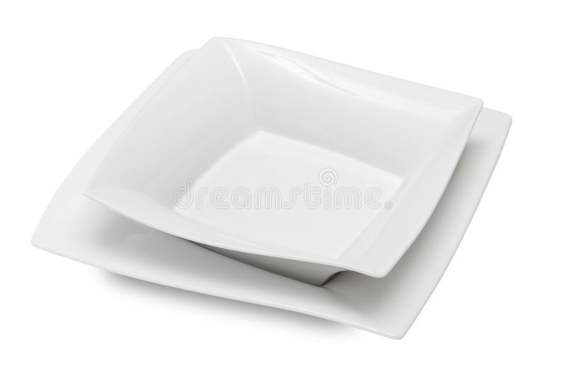 τετραγωνικό λευκό πιάτων κύπελλων κεραμικό στοκ φωτογραφία με δικαίωμα ελεύθερης χρήσης