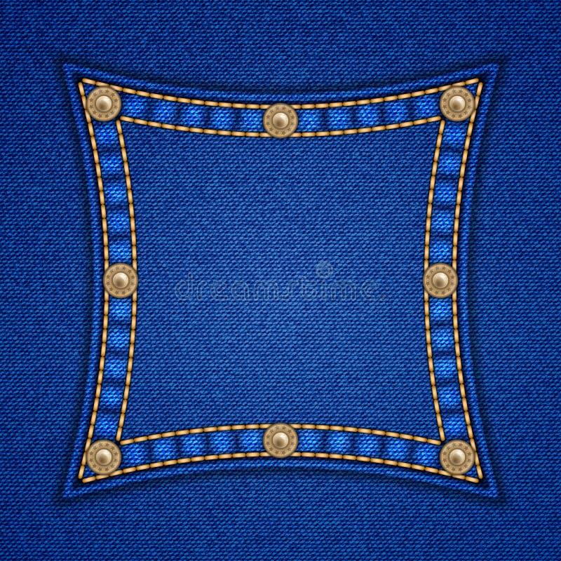 Τετραγωνικό μπάλωμα τζιν διανυσματική απεικόνιση