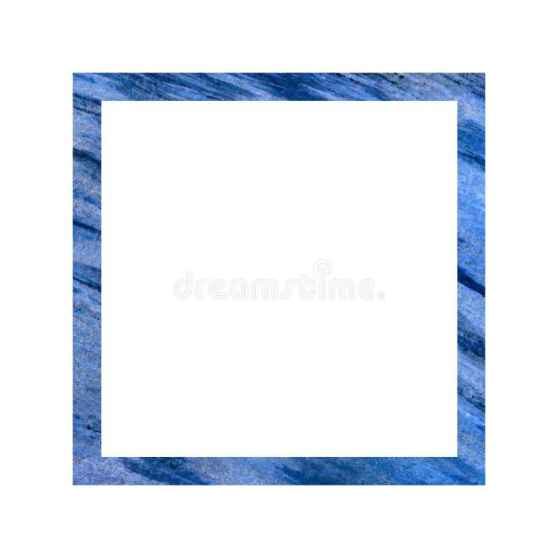 Τετραγωνικό μπλε πλαίσιο σε ένα άσπρο υπόβαθρο Εγγραφή των γαμήλιων λευκωμάτων για τις φωτογραφίες, εγγραφή, διακοπές ελεύθερη απεικόνιση δικαιώματος