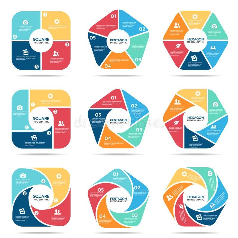 Τετραγωνικό Πεντάγωνο και hexagon infographic μέρος τέσσερα, μέρος πέντε και μέρος έξι διανυσματικό καθορισμένο σχέδιο απεικόνιση αποθεμάτων