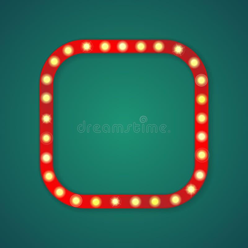Τετραγωνικό πλαίσιο γωνιών κόκκινου φωτός διανυσματική απεικόνιση