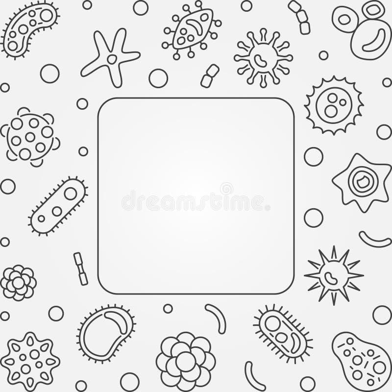 Τετραγωνικό πλαίσιο ιών Διανυσματική απεικόνιση περιλήψεων έννοιας ελεύθερη απεικόνιση δικαιώματος
