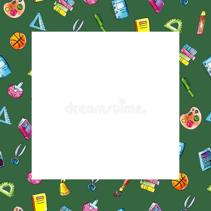 Τετραγωνικό πράσινο πλαίσιο σκίτσων απεικόνισης Watercolor των σχολικών αντικειμένων διανυσματική απεικόνιση
